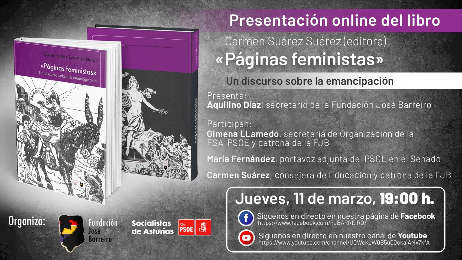 Presentación online del libro «PAGINAS FEMINISTAS» Un discurso sobre la emancipación
